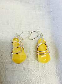 Honey Amber & Silver Earrings