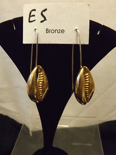 Bronze cowrie shell earrings