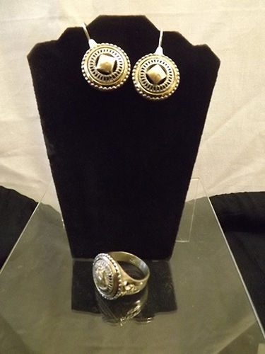 Gold and silver earrings and ring set