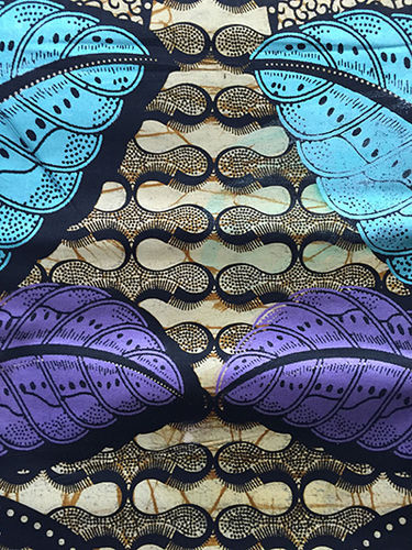 African Print Fabric - blue, purple, ivory, olive  (Sold by the yard)