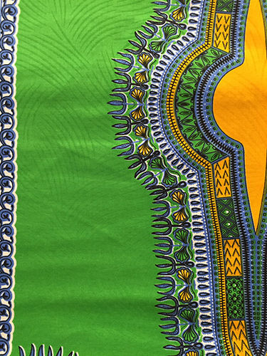 African Print Fabric (Angelina) - lime green, blue and yellow  (Sold by the yard)