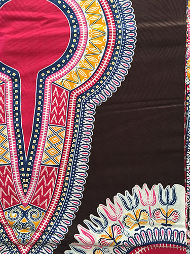 African Print Fabric - black, red, blue and yellow (Sold by the yard)
