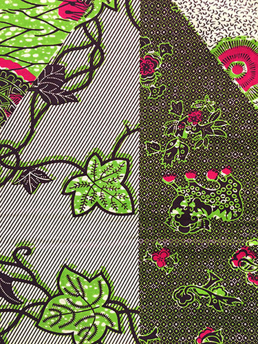 African Print Fabric - green, red, black, ivory (Sold by the yard)