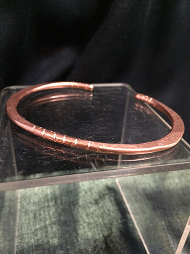 Oxidized Copper Bangle Bracelet